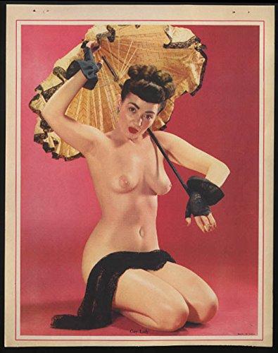Gay Lady topless nude calendar sample sheet 1950s brunette black lace parasol