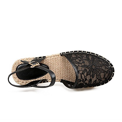 AgooLar Mujeres Puntera Cerrada Mini Tacón Hebilla Sólido Sandalia Negro