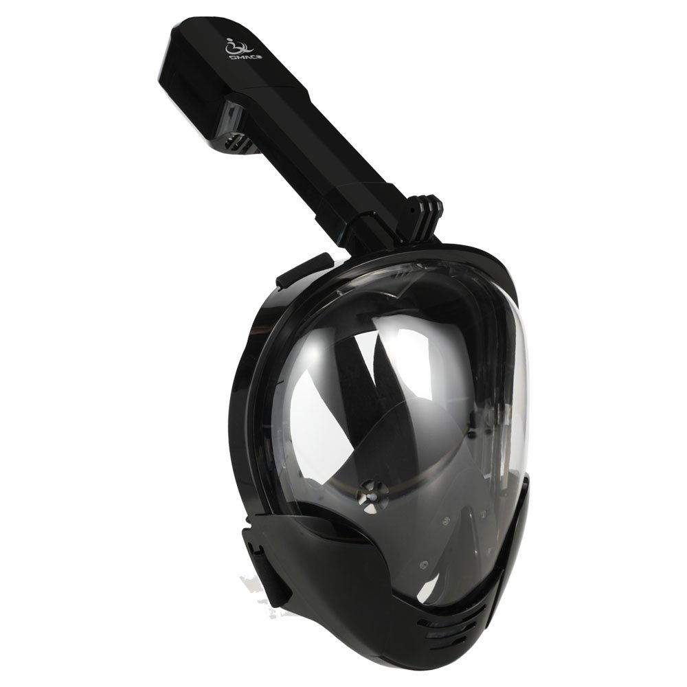 Jasontric Snorkel Mask Full Face with Detachable Mount Pivot Arm for GoPro Large View Free Breath Dry Top Set Leakproof Fogproof for Adult (Black)