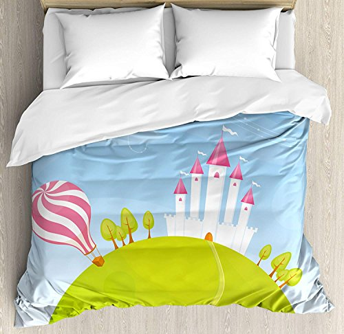 Cartoon Duvet Cover Set Queen Size, Fantasy Castle on Top of the Hills and Hot Air Balloon in Sunny Sky Day Kids Art, Decorative 4pcs Bedding Set, Multicolor ()