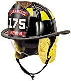 MSA Safety 1010DSB Cairns 1010 Traditional Fiberglass Composite Fire Helmet with Defender, Nomex Earlap, Chinstrap, Quick Release, Postman Slide, Lime/Yellow Reflexite and 6'' Silk Screened Eagle, Black