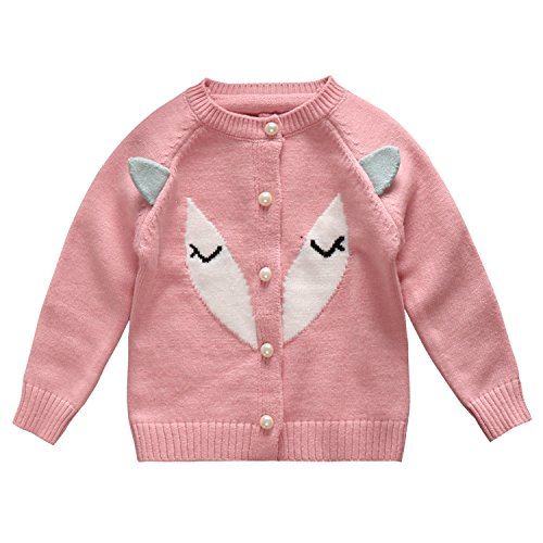 Little Baby Girls' Cashmere Fox Ears Pearl Button Knitted Cardigan Sweater Pink Size 24M - Bottoming Sweater