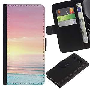KLONGSHOP / Tirón de la caja Cartera de cuero con ranuras para tarjetas - Blue Pink Orange Vibrant Ocean Sea - Samsung Galaxy S3 III I9300