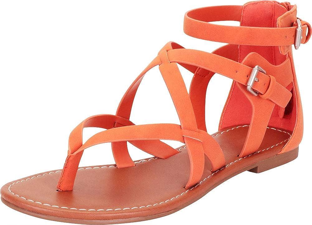 orange Nbpu Cambridge Select Women's Thong Toe Crisscross Strappy Flat Sandal