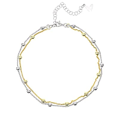 Vamp London Vamp Chic Rio Beaded Double Row 24ct Yellow Gold Plated Sterling Silver Ankle Chain VCA089-YG NbAt1nJ9qU