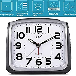 Silent Non Ticking Analog Alarm Clock with Nightlight and Snooze/Ascending Sound Alarm/Simple to Set Clocks, Battery Powered, Perfect Parent Gift(Grey)