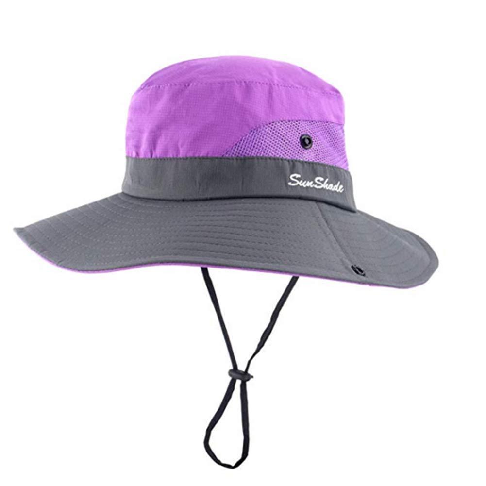 Womens Ponytail Safari Sun Hat,Sun UV Protection Outdoor Bucket Hat,Foldable Beach Summer Fishing Hiking Boonie Hat