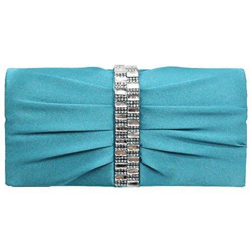 (Cckuu Women Lady Bridal Elegant Clutches Purse Handbag Pleated with Diamond Bow(turquoise blue))