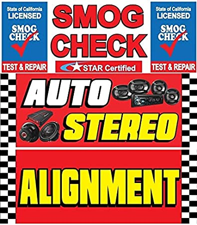 SMOG Check AUTO Repair AUTO Stereo Vinyl Banner Size 30inch X 80inch Pack of 3