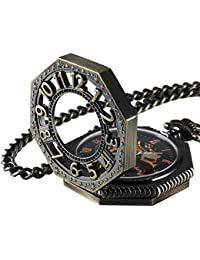 Steampunk Vintage Gold Tone Octagon Skeleton Mechanical Pocket Watch with Chain Christmas Gifts CHPW02