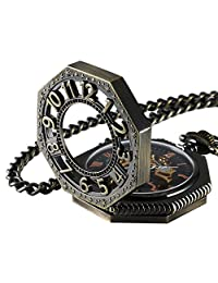 Roman Retro old railroad style Bronze Octagon Steampunk mechanical Skeleton Hand-wind pocket watch with Chain CHPW02
