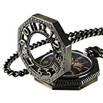 Carrie Hughes Steampunk Vintage Gold Tone Octagon Skeleton Mechanical Pocket Watch with Chain Christmas Gifts CHPW02 6