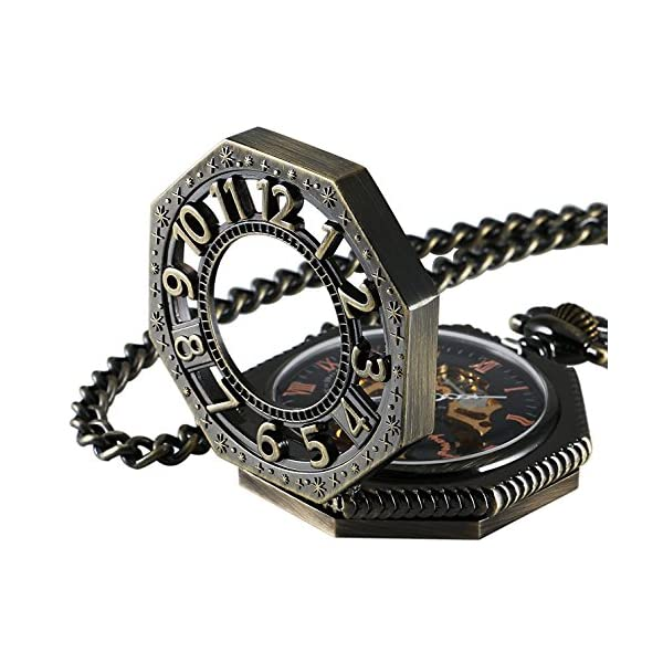 Carrie Hughes Steampunk Vintage Gold Tone Octagon Skeleton Mechanical Pocket Watch with Chain Christmas Gifts CHPW02 3