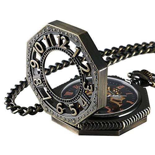 Steampunk Vintage Watch - Carrie Hughes Steampunk Vintage Gold Tone Octagon Skeleton Mechanical Pocket Watch with Chain Gifts CHPW02