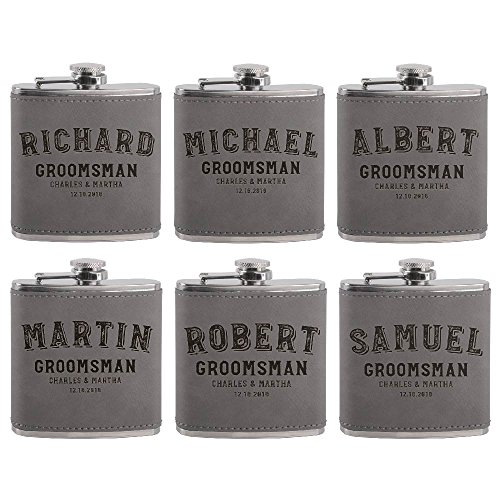 Set of 6 - Personalized Groomsmen Flasks, Groomsmen Gifts | 6oz Leatherette Personalized Flask for Liquor w Optional Gift Box - Personalized Groomsman Proposal Gifts | Wedding Favor #2 -