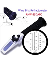 Sinotech Hand Held Portable Grape Wine Alcohol Refractometer Rhw-25datc 0-40% Brix 0-25% Alcohol Tester Black Grip