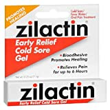 Zilactin Cold Sore Gel, Medicated Gel 0.25 oz ( Pack of 4)