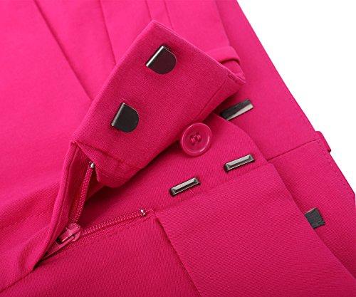 SATINATO Slim Fit Mujer Pantalones Ceñidos Skinny De Vestir Elegantes Oficina Profesional Rosa