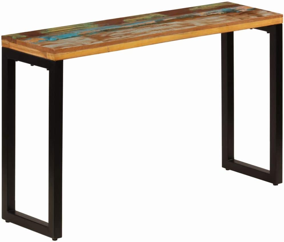 "Console Table Industrial Entryway Table Sofa Table Solid Reclaimed Wood and Steel 47.2""x13.8""x29.9"""
