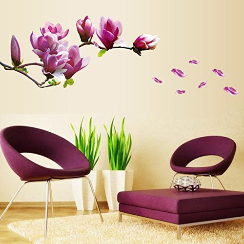 High-Season 1PC Magnolia Flower Wall Stciker 3D Vinyl Wall Decals Living Room Home Decor Bedroom Poster Wall Stickers Decorative Wallpaper Crabtree Evelyn Essential Oils