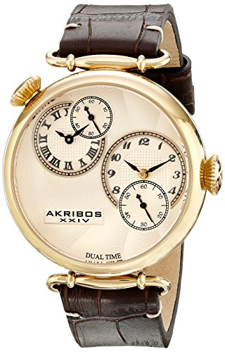 Akribos XXIV Men's AK796YG Dual Time Quartz Movement Watch with Yellow Gold Dial and Dark Brown with Cream Stitching Leather Strap