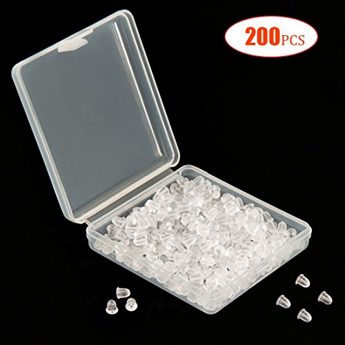 Silicone Earring Backs Earring Backings Soft Clear Ear Safety Back Pads Backstops Bullet Clutch Stopper Replacement with Handy Case for Fish Hook Earring Studs Hoops (200PCS/100Pairs)