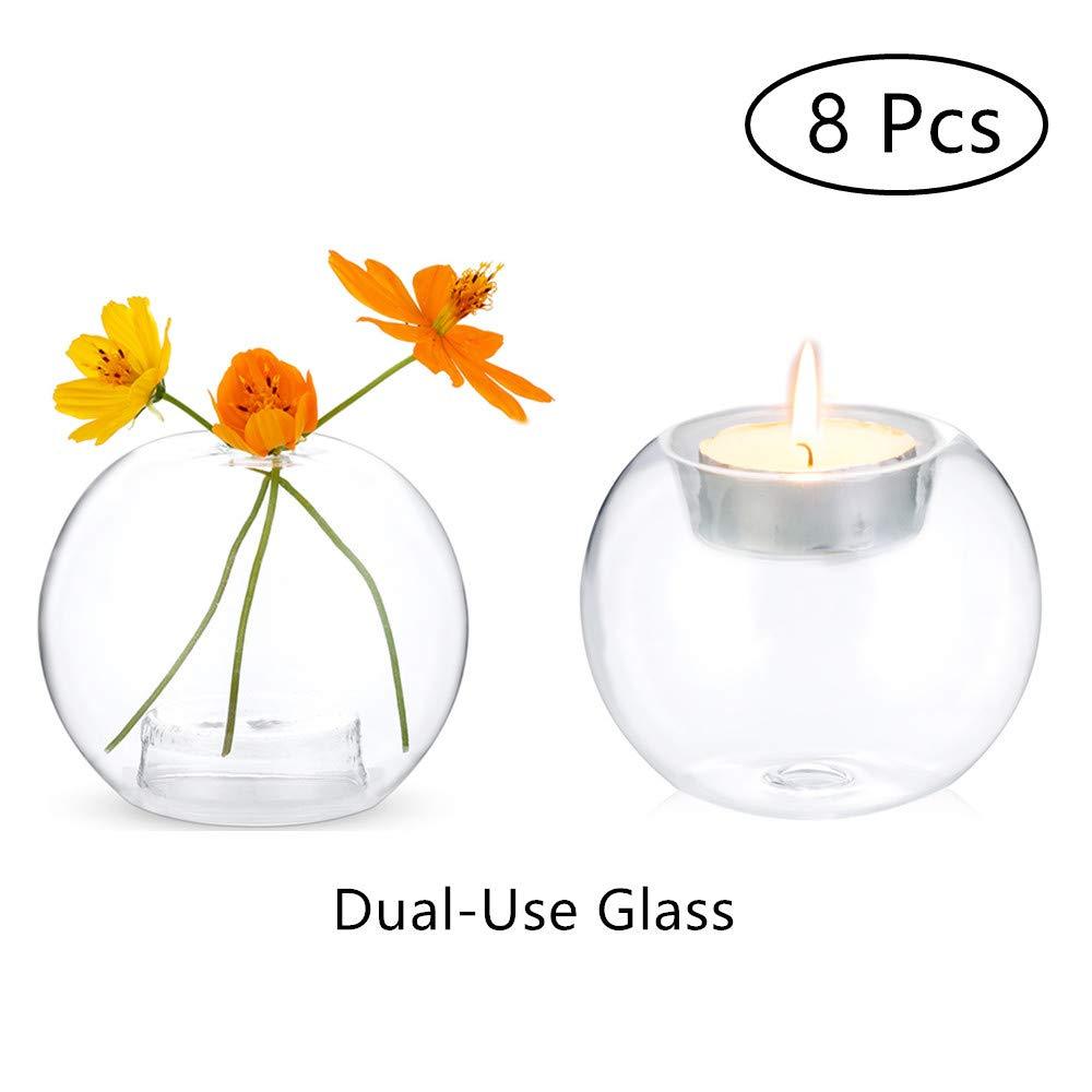 Amazon.com: Sfeexun - Portavelas de cristal transparente, 8 ...