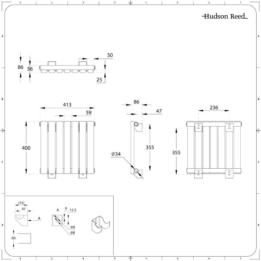 Radiador de Dise/ño Horizontal 400mm x 413mm x 56mm Revive 284 Vatios Blanco