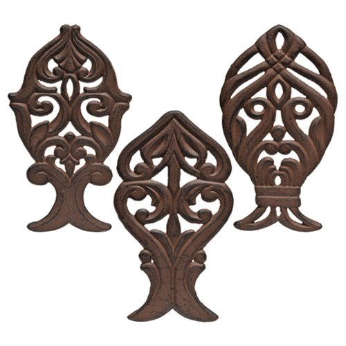 Caffco International Coastal Collection Cast Iron Trivets, Set of 3, 10 x 6-Inches, Fish-Shaped (Trivet Shaped)