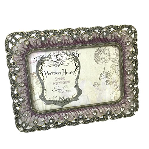 Rhinestone Clear Jeweled Bronze Pewter Purple Enamel 4 x 6 Picture Frame