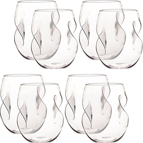 Shatterproof Stemless Wine Glasses 16 oz - Reusable Unbreakable Plastic Self Aerating Wine Cups - Dishwasher Safe, BPA-Free - Set of 8 by Mindful Design