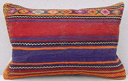 Unique Large Kilim Lumbar Pillow Case, Bohemian Shabby Chic Cottage Decor Boho Wool Oushak Rug Pillow, Antique Kilim Pillow Cases, Area Rug Vintage Body Cushion 16'' x 24'' (40 x 60 Cm) (Antique Wool Blanket)