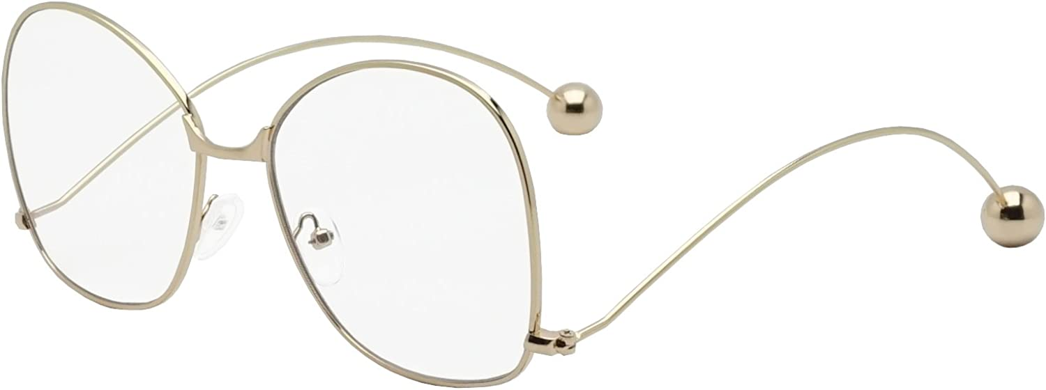 Ladies Large Oversized Metal Frame Clear Lens Butterfly Eye Glasses Ball Temple