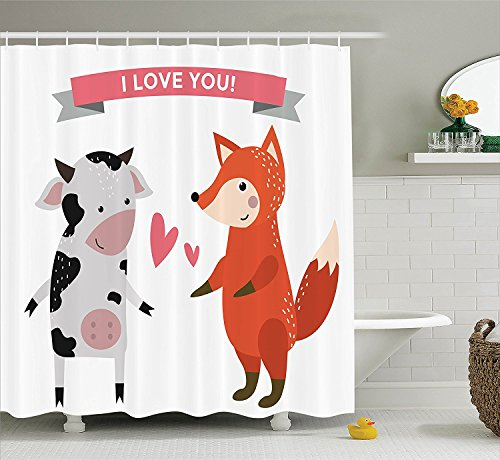 [Animals Decor Collection Cow and Fox Hunter and Livestock Love Story Relationship Smiling Wild Danger Image Polyester Fabric Bathroom Shower Curtain Set with Hooks Orange White Black] (Fox Hunter Halloween Costume)