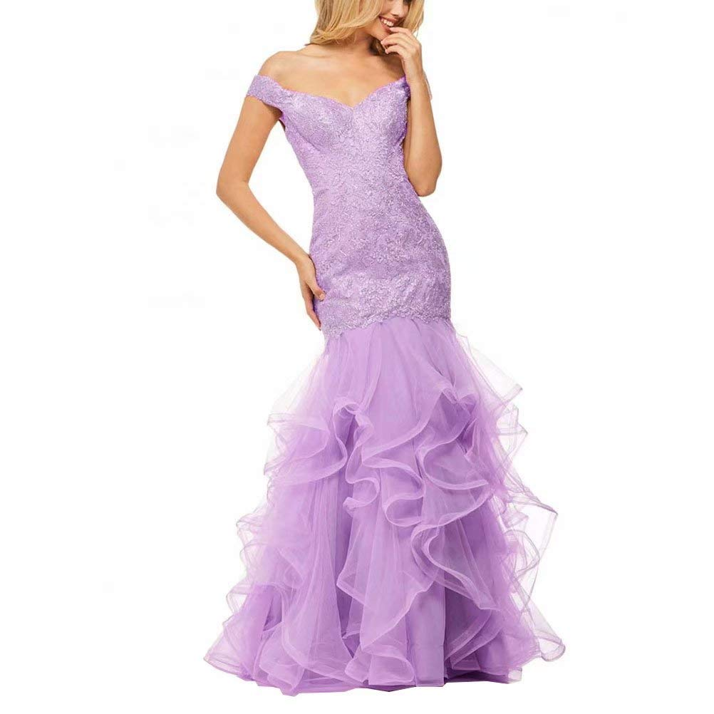 Purple Unions Women Layered Ruffles Tulle Mermaid Prom Dress Backless Long Formal Evening Gown