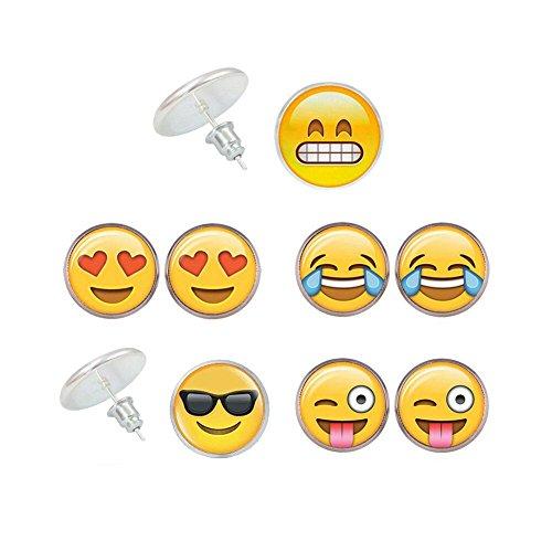 Emoji Earrings 6 Pairs | 18K Gold Plated 5 Pairs Poop Stud Earrings | Round Yellow Trendy Jewelry (5 pairs)