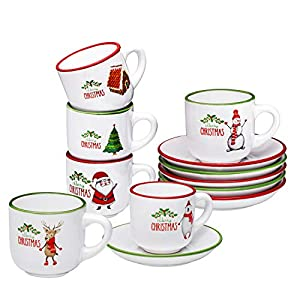 Espresso Cups with Saucers by Bruntmor – 4 ounce – Set of 6, Christmas Theme
