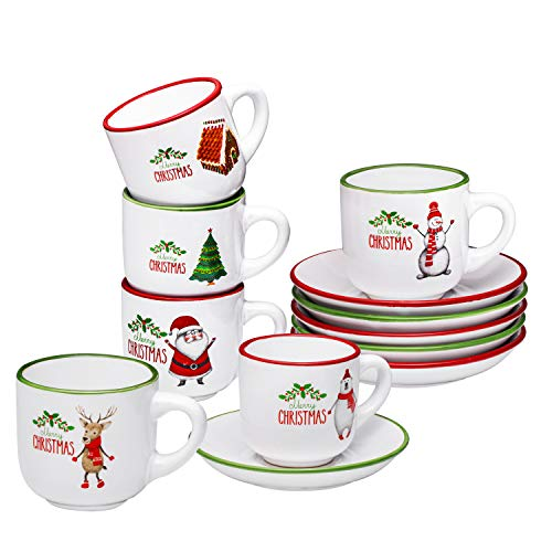 Espresso Cups with Saucers by Bruntmor - 4 ounce - Set of 6, Christmas Theme (Saucer Tea Of Cup And Christmas A)
