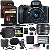 Canon EOS M50 15-45mm f/3.5-6.3 is STM Mirrorless Digital Camera, 64gb Memory Card, Manfrotto Compact Action Tripod, Camera Bag & Accessory Bundle