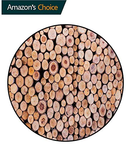 RUGSMAT Rustic Machine Washable Round Bath Mat,Mass of Wood Logs Forest Tree Ecology Industry Group of Cut Lumber Circle Stack Image Non-Slip No-Shedding Bedroom Soft Floor Mat,Diameter-31 Inch