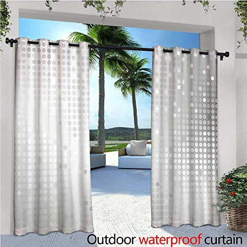 cobeDecor Grey Fashions Drape Digital Art Ombre and Dots Graphic Design Modern Home Textiles Print Outdoor Curtain Waterproof Rustproof Grommet Drape W72 x L96 Silver Gray