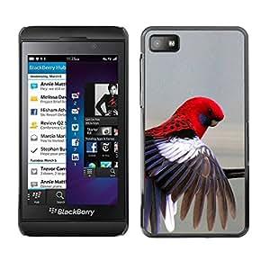 PC/Aluminum Funda Carcasa protectora para Blackberry Z10 red parrot grey pastel tropical bird feather / JUSTGO PHONE PROTECTOR