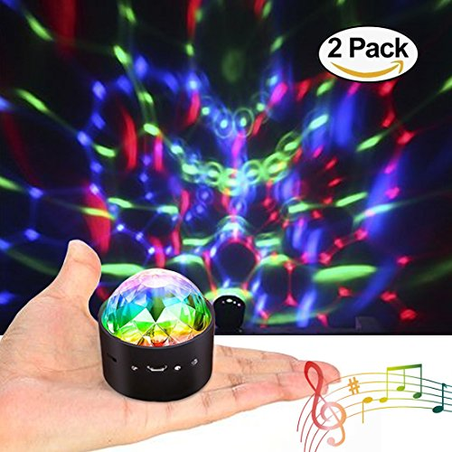 [2-Pack] Wireless Disco Ball Lights Battery Operated Sound Activated LED Party Strobe Light Mini Portable RGB DJ Stage Light with USB -