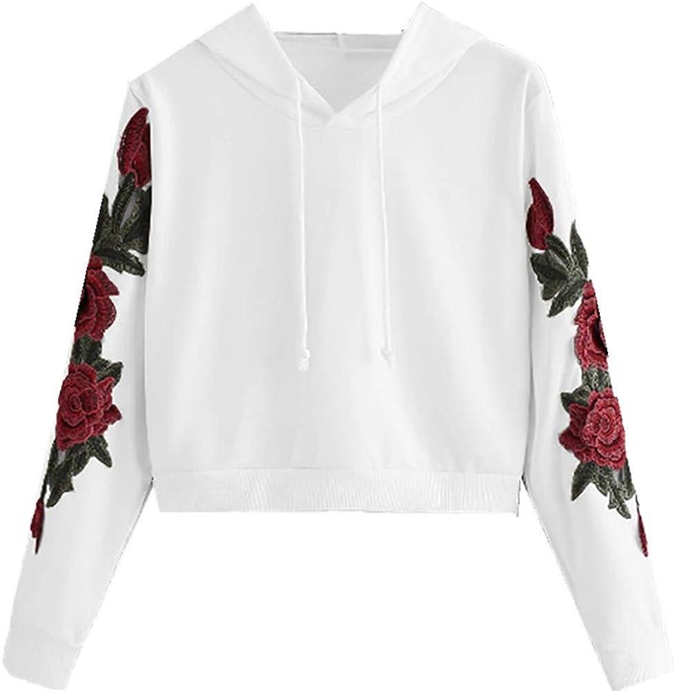 Sudaderas con Capucha Apliques Sweatshirt Mujer Otoño Blusa Manga Larga Tops Camisa