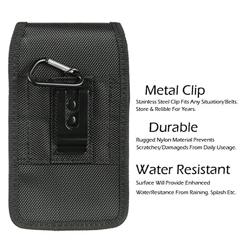 AIScell Metal Belt Clip Holster For Iphone 8 Plus, 7 Plus,6S/6 Plus ~Extra Large Ultra Rugged Pouch Nylon Canvas Case (Fit Phone With Lifeproof,Otterbox Defender,Battery Case,Thick Hybrid Cover) by AIScell (Image #3)