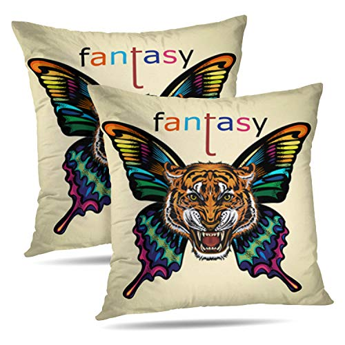 LALILO Set of 2 Throw Pillow CoversBeautiful Butterfly Tattoo Angry Tiger Face Animal Double-Sided Pattern for Sofa Cushion Cover Couch Decoration Home Bed Pillowcase 18x18 inch -