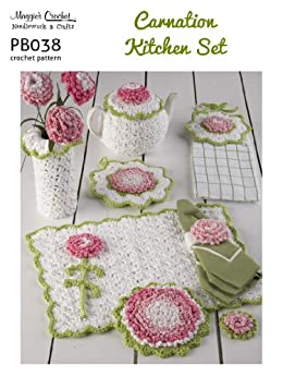 Crochet pattern carnation kitchen set pb038 r english for Kitchen set name in english