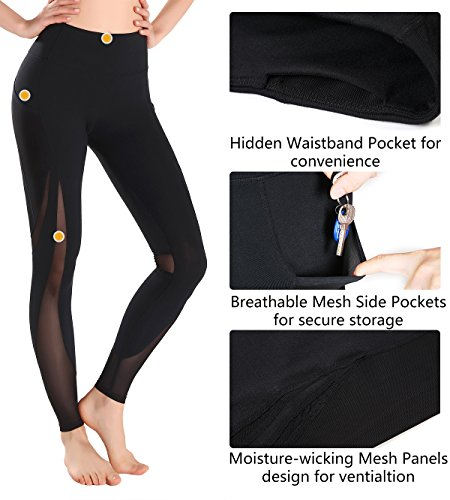 MotoRun Active Women's Power Workout Leggings Mesh High Waist Gym Tights Full Length Pants
