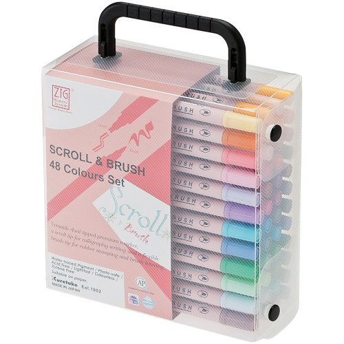 Zig Memory System Scroll and Brush 48 Colors Marker Set by Zig