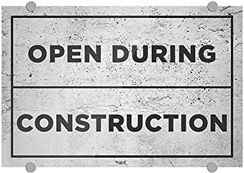 5-Pack 18x12 Open During Construction Stripes White Premium Brushed Aluminum Sign CGSignLab